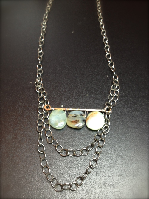 Natural Blue Opals and Oxidized Silver
